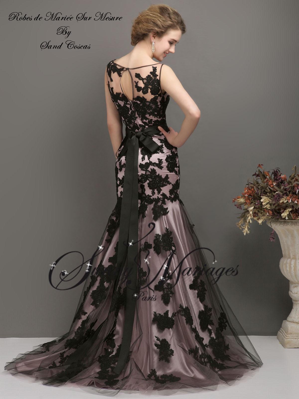 robe de mari u00e9e couleur dentelle noire coupe sirene