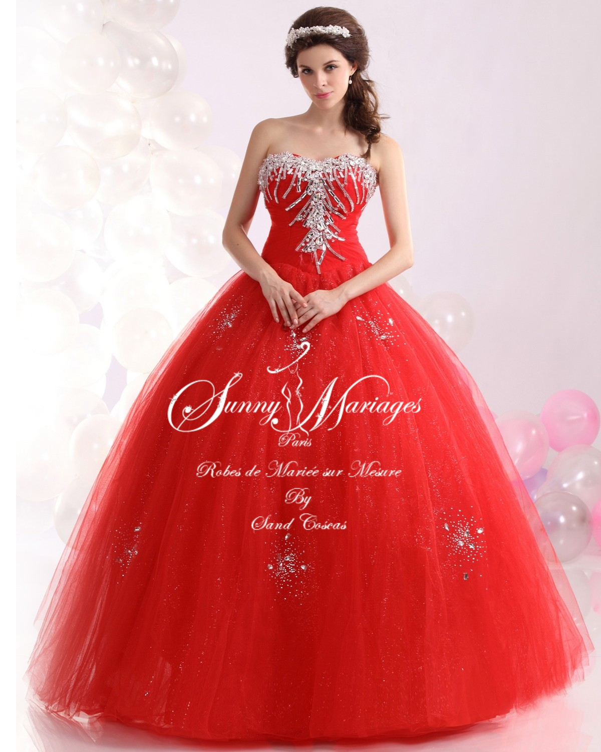 Robe De Mariee Princesse Rouge Bustier Strass Sunny Mariage