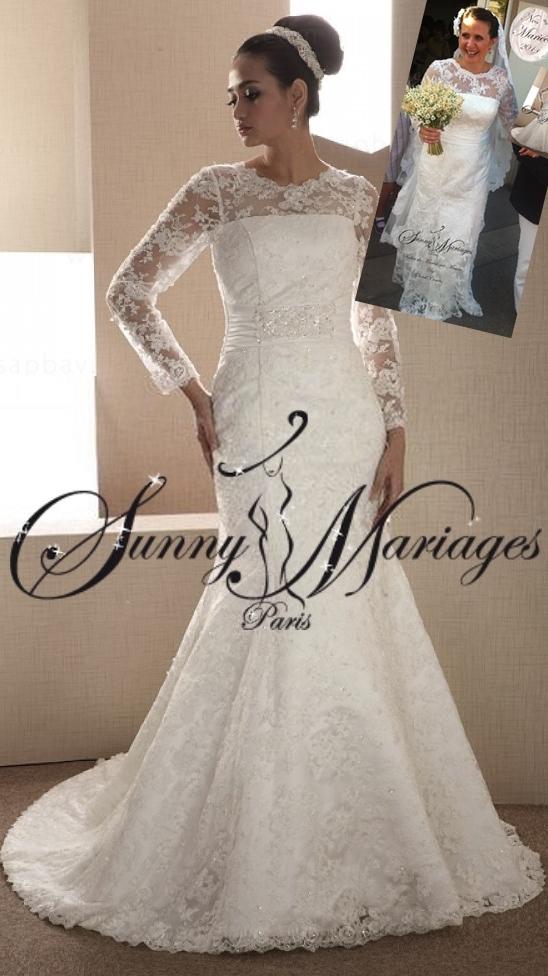robe de mariée dentelle et manches longues | Sunny Mariage