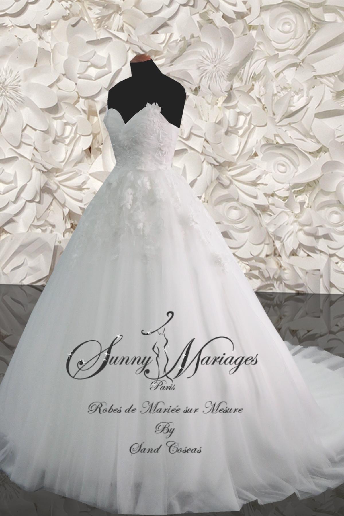 Robe de mariee princesse bustier avec traine