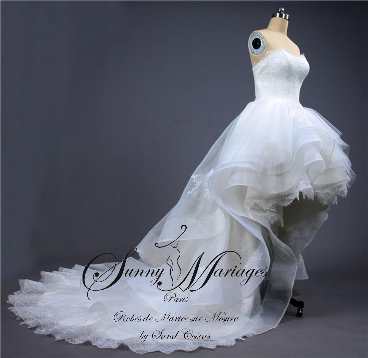 Robe de mari e courte devant longue derri re sunny mariage - Robe de mariee transparente ...